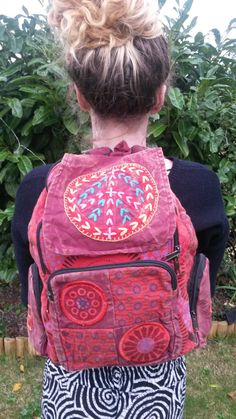 Peace Patchwork Backpack Cotton Stonewash by GlobalEmporium1