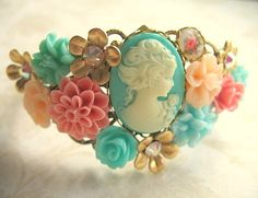 Turquoise, Coral and Peach Garden Collage Bracelet