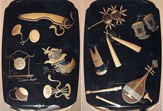 Case (Inrô) with Scattered Design of Musical Instruments, Theatrical Implements and Flowers. Shibata Zeshin  (Japanese, 1807–1891)