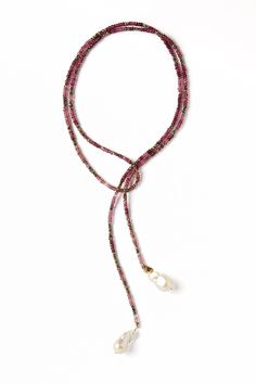 Ombre Pink Tourmaline and Pyrite Gemstone Baroque Pearl Lariat