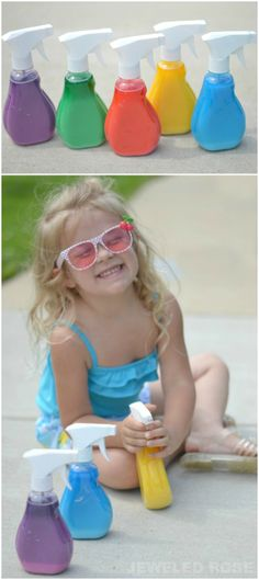 Washable Spray Chalk- what a fun way for kids to make art this Summer! Making the chalk takes seconds, and it easily washes off of the sidewalk and other outdoor surfaces