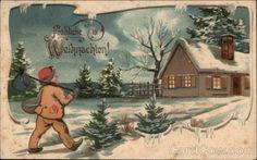 Frohliche Weihnachten - Merry Christmas - Snowy Scene