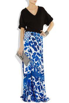 Printed silk-satin maxi skirt
