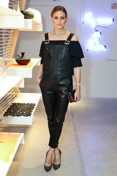 Olivia Palermo in Leather Overalls. She pulled off a pair of black leather overalls like a pro. At the opening of Manhattan's Seaport Studios, Leather Overalls, Leather Jumpsuit, Black Overalls, Black Jumpsuit, Fashion Mode, Look Fashion, Girl Fashion, Fashion Tips, 80s Fashion