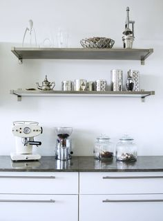 stainless steel shelving in contemporary kitchen by kml