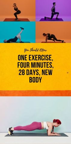 One Exercise, Four Minutes, 28 Days, New Body - Fashion and beauty tips - Fitness Wellness Fitness, Health Fitness, Glowing Skin Diet, Four Minutes, Health And Fitness Articles, Fat Burning Drinks, Workout Challenge, Plank Challenge, 28 Days