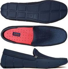Navy SWIMS flat-front loafer