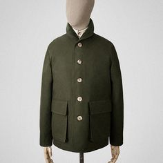 Dark green Ventile tour jacket Garments made with the makers of the British Isles Work Jackets, Men's Wardrobe, Men Street, Sports Jacket, Dress For Success, Jacket Buttons, Good Looking Men, Mens Clothing Styles, Vest Jacket