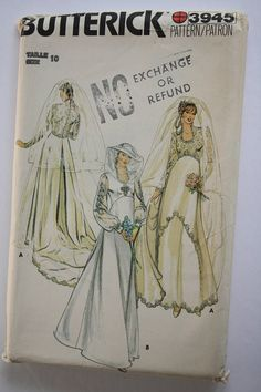 Bridal Gown Wedding Dress Sewing Pattern Size 10 bust 38