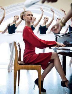 Ballet Teacher Editorials - The Vogue Russia Red Lady Photoshoot Stars Anna Selezneva (GALLERY)