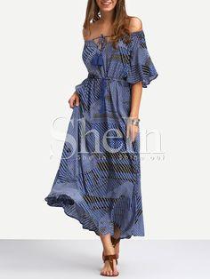 Navy+Off+The+Shoulder+Tie-waist+Ruffle+Hem+Maxi+Dress+24.99