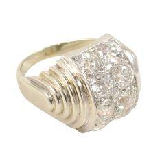Rene Boivin Art Deco ring in 18k gold and platinum set with diamonds. Paris, c 1930.