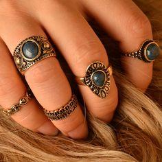 5 unids de Bohemia de la Turquesa Anillos anillos Venta Caliente Retro Tallado Cuadro Clásico de Oro Antiguo Plateado para la joyería de las mujeres