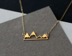 Items similar to mini mountain necklace mountain jewelry gold mountain range mountain necklace mountain range gift for her gift under 50 nature lover on Etsy Bff T Shirt, Jewelry Box, Jewelry Accessories, Jewellery, Bridal Jewelry, Silver Jewelry, Silver Rings, Bijoux Design, Bracelets