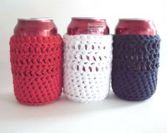 Crochet Can Cozies -  Patriotic - Nautical. $16.00, via Etsy.
