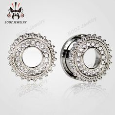 2016 hot crystal stone ear expander stainless steel body jewelry piercing gauges ear plugs flesh tunnels