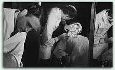 """Clay Campbell mu artist on the set of """"covergirl"""" with Rita Hayworth"""