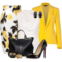 Trendy collection of yellow + black, autumn fashion -Relaxwoman Mode Outfits, Office Outfits, Business Outfits, Business Fashion, Classy Outfits, Chic Outfits, Dress Outfits, Jw Mode, Mode Collage