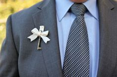 Vintage Key Boutonniere - key to the heart