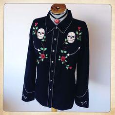Scully Ladies Skull & Roses Gothic Embroidered Retro Western Shirt Large/18  #FrecklesAttic  #ebayshop #ebay #rocknroll #rockabillyrebel #rockabilly #country #western #countryandwestern  #westernshirt  #countryshirt #scully #scullyshirts #scullyshirt #cowgirlshirt #cowgirl #skulls #vintagestyle #vintageblogger #vintagemeetsmodern #fashionista #retro #retrofashion #styleblogger #musthave