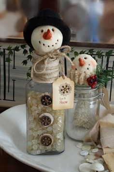 Snowman Button Bottle Christmas Holiday by CottonRidgeEmporium, $28.00