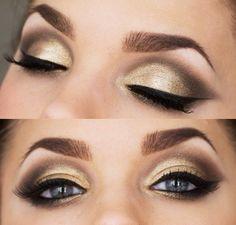 goud bruine smokey eye look met eyeliner en mooi opgezette wenkbrauwem