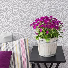 Spanish Lace Allover Wall Scallop Stencil | Royal Design Studio