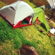 天満宮前キャンプ場にてエリクサー初張りを兼ねてソロキャン♪ #MSR#エリクサー2#ゴーライト#シャン5#ソロキャン