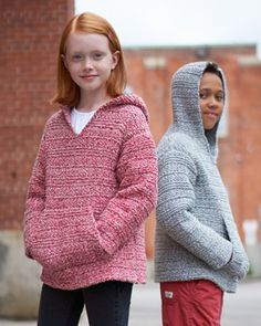 A cozy hoodie is a cool-weather essential. Kids will love bundling up in this textured, denim-effect version. Shown in Bernat Denimstyle.