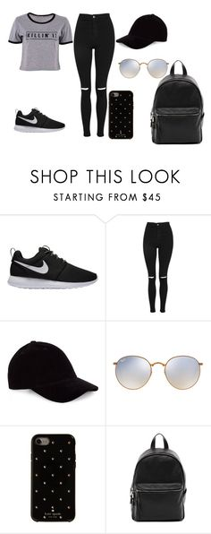 """Sem título #214"" by debbiecollinsj on Polyvore featuring moda, NIKE, Topshop, Le Amonie, Ray-Ban, Kate Spade e French Connection"