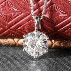 Details about  /2.00Ct Round Cut Diamond Solitaire Pendant Necklace 14K White Gold Finish