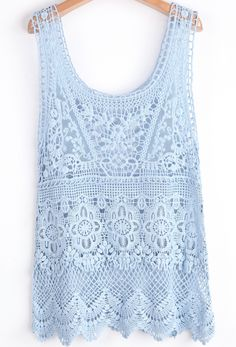 Blue Scoop Neck Sleeveless Lace Hollow Vest - Sheinside.com