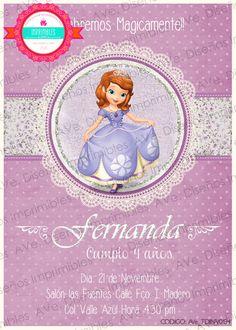 Princesa Sofia Invitaciones Invitaciones de por AVeDisenoImprimible