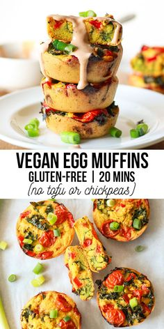 Vegan Egg Muffins with Mung Beans and Tahini Drizzle (Gluten-Free) - Zen and Zaatar Vegan Dessert Recipes, Vegan Breakfast Recipes, Egg Recipes, Brunch Recipes, Healthy Recipes, Healthy Food, Brunch Ideas, Gluten Free Muffins, Egg Muffins