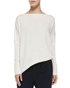 Ottoman Ribbed-Cuff Knit Sweater, Off White, Off Whtie - Vince