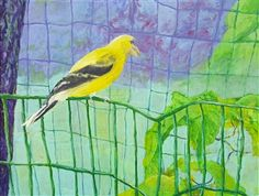 Make the American Goldfinch Great Again (Donald)<br />Acrylic & Collage on Canvas, Mixed Media
