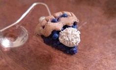 Blueberry Pie Earrings, Pie Slices, polymer clay, handmade, mini food, blue, NEW