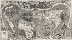 """Martin Waldseemuller's A.D. 1507 world map, often referred to as America's birth certificate as it was the first document on which the name """"America"""" appears. It was also the first to show a distinct Western Hemisphere and to represent the Pacific Ocean as a separate body of water. [per Library of Congress]"""