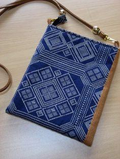 こぎん刺しのバッグと小物: 古布の手作り品 着物リメイク藍