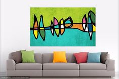 Abstract Circles 674-2. Extra Large Abstract Colorful Yellow Purple Green Canvas Art Print up to 60 Colorful abstract wall decor home decor HD Canvas Print Home Decor Wall Art for your home or office. - Fine art canvas print from Irena Orlov - Professionally hand stretched over 1 1/2 deep wood stretched bars. - Gallery wrapped in sustainable, FSC certified wood - Arrives ready to hang - UV coated acrylic finish to protect the image from dust moisture and fading. - Made in the USA It is ...