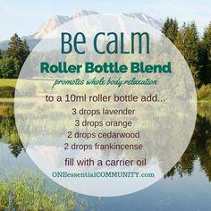be calm roller eo blend : lavender, orange, cedarwood, frankincense