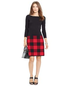 Buffalo Check Sweater Dress - Lauren Short Dresses - RalphLauren.com