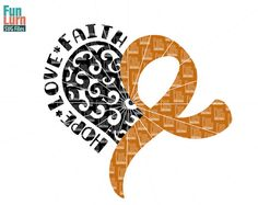 Appendix Cancer Awareness SVG Swirl heart swirly by FunLurnSVG