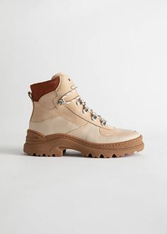 Chunky Platform Hiking Boots - Beige orange - Winterboots - & Other Stories Trail Shoes, Hiking Shoes, Hiking Boots Outfit, Hiking Gear, Timberland Stiefel Outfit, Timberland Waterproof Boots, Yellow Boots, Hiking Fashion, Hiking Boots Women