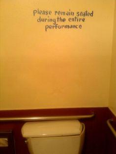 Written above toilet