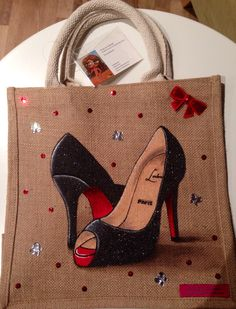 By Emily -em Original Bag Designs. Another Louboutin Design. Proving very popular. Medium Jute bag, 30 by 30 cm