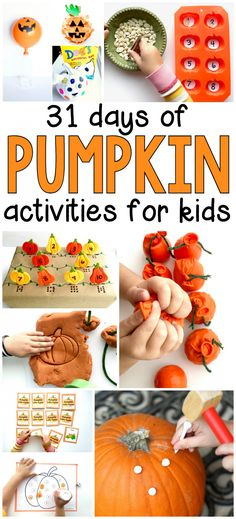 31 Days of Pumpkin Activities for Preschoolers. Holiday ideas for moms. Halloween kids crafts and activities. Join us for 31 Days of Pumpkin Activities this October- our activities are perfect for toddlers, preschoolers, and early elementary ages. Kids Crafts, Preschool Art Projects, Halloween Crafts For Kids, Toddler Crafts, Craft Activities, Pumpkin Preschool Crafts, October Preschool Crafts, Preschool Fall Theme, 31 Days Of Halloween