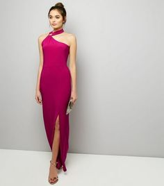 Bright Pink Ring Trim Halter Neck Maxi Dress
