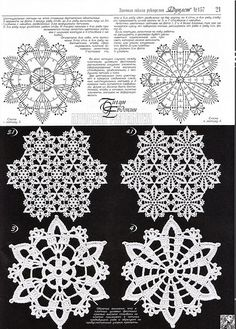 KUFER with artistic handicraft: Themes for crochet covers, tablecloths, scarves, rugs Crochet Snowflake Pattern, Crochet Motif Patterns, Crochet Snowflakes, Crochet Doilies, Crochet Flowers, Crochet Stitches Chart, Crochet Diagram, Thread Crochet, Filet Crochet