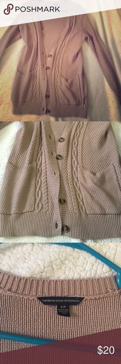 AE cardigan! Never worn. Perfect condition. 60% cotton, 40% acrylic. Get it for fall. Goes perfect with some brown booties. American Eagle Outfitters Sweaters Cardigans